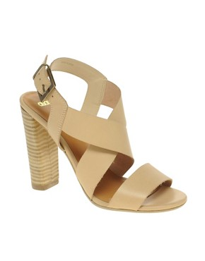 Image 1 ofASOS HEART Leather Heeled Sandals with Cross Straps
