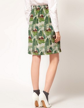 Image 2 ofPeter Jensen Slip Skirt in Lodge Print