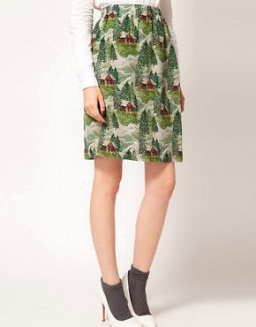 Image 4 ofPeter Jensen Slip Skirt in Lodge Print