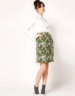 Image 1 ofPeter Jensen Slip Skirt in Lodge Print