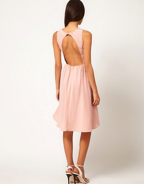 Image 2 ofASOS PETITE Exclusive Dress With Embellished Neck And Hi Lo Hem