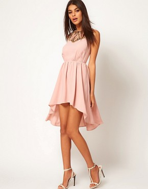 Image 4 ofASOS PETITE Exclusive Dress With Embellished Neck And Hi Lo Hem