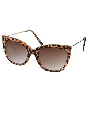 Image 1 ofASOS Tort Ridge Detail Cat Eye Sunglasses