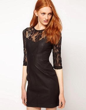 Image 1 ofWarehouse Leather With Lace Panel Dress