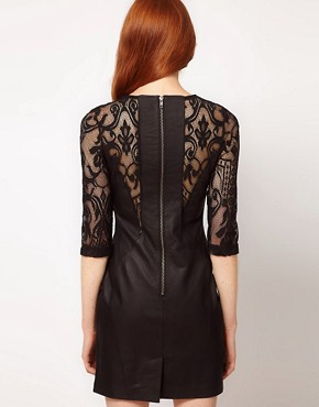 Image 2 ofWarehouse Leather With Lace Panel Dress