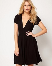 ASOS Skater Dress With Low V-Neck