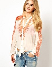 Pepe Jeans Printed Pleated Blouse