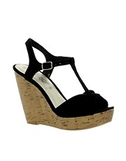 New Look Heath T bar Black Cork Wedge Sandals