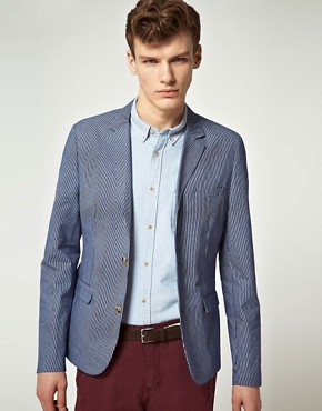 Image 1 ofASOS Slim Fit Stripe Blazer