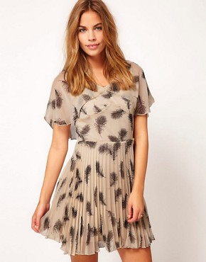 Image 1 ofRare Feather Print Tea Dress