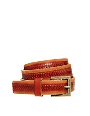 Warehouse Chevron Leather Jeans Belt