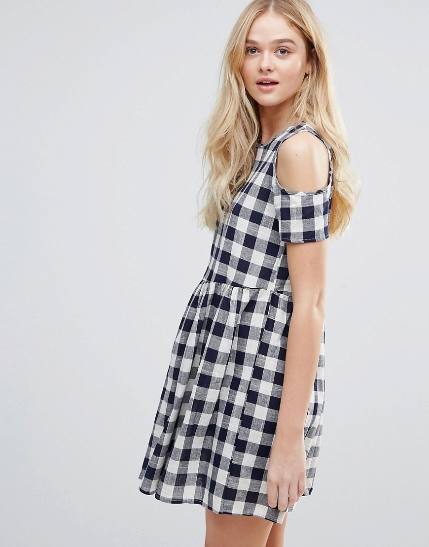 QED London Cold Shoulder Gingham Smock Dress - Navy
