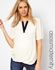 ASOS Maternity Exclusive Blouse With Contrast Detail