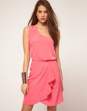 Image 1 ofASOS One Shoulder Dress With Wrap Skirt
