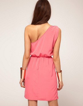 Image 2 ofASOS One Shoulder Dress With Wrap Skirt