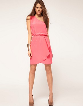 Image 4 ofASOS One Shoulder Dress With Wrap Skirt