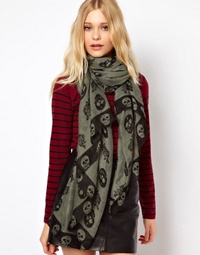 Image 1 ofNew Look Skull And Rose Scarf