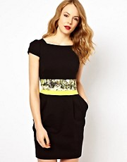 Karen Millen Bodycon Dress with Croc Print Waistband