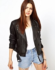 Just Female Leather Biker Jacket