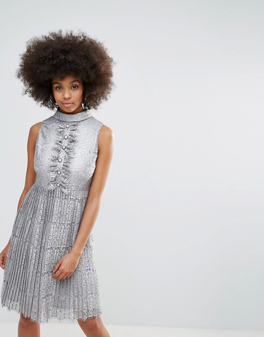 Darling Metallic Lace Midi Dress With Pleated Skirt - Pewter