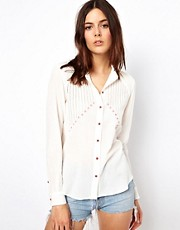 Vanessa Bruno Ath Cotton Embroidered Blouse with Contrast Stitching