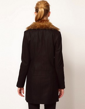 Image 2 ofVero Moda Faux Fur Lapel Double Breasted Coat