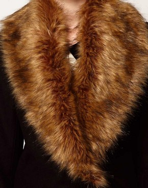 Image 3 ofVero Moda Faux Fur Lapel Double Breasted Coat