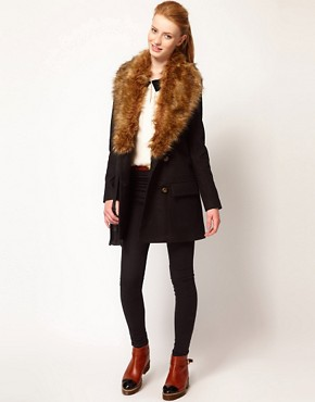 Image 4 ofVero Moda Faux Fur Lapel Double Breasted Coat