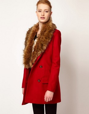 Image 1 ofVero Moda Faux Fur Lapel Double Breasted Coat