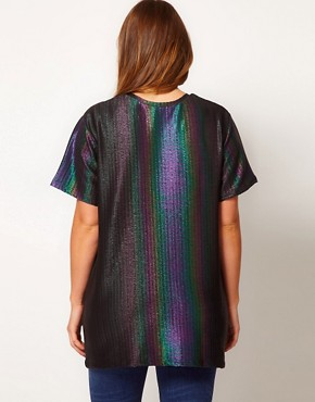 Image 2 ofASOS CURVE Rainbow Holographic T-Shirt