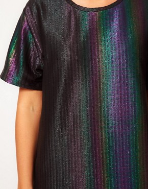 Image 3 ofASOS CURVE Rainbow Holographic T-Shirt