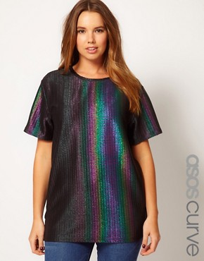 Image 1 ofASOS CURVE Rainbow Holographic T-Shirt