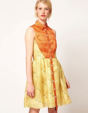 Image 1 ofNahm Sleeveless Dress Shirt Printed Silk &amp; Organza