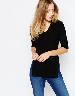 Whistles V Neck Jumper in Rib
