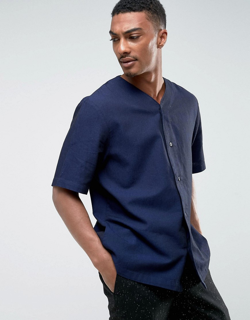 Weekday Telly Jersey Button Down Shirt - Blackish blue