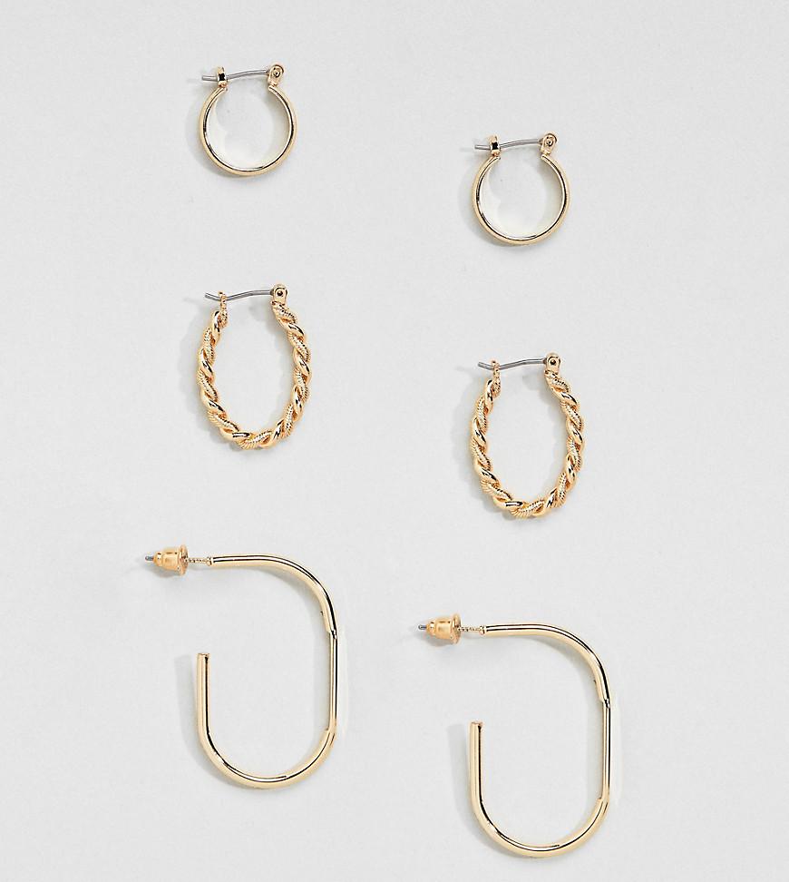 3 пары сережек в винтажном стиле ASOS DESIGN - Золотой