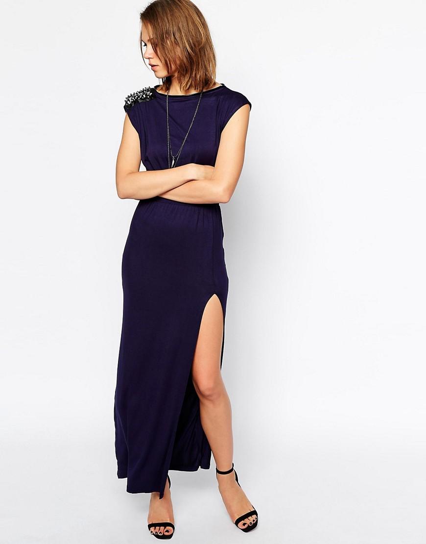 Rock & Religion Madeline Embellished Jersey Maxi Dress - Navy