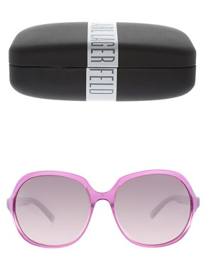 Image 2 ofKarl Lagerfeld Oversize Sunglasses With Logo Arm