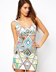 Paprika Geometric Foil Print Dress