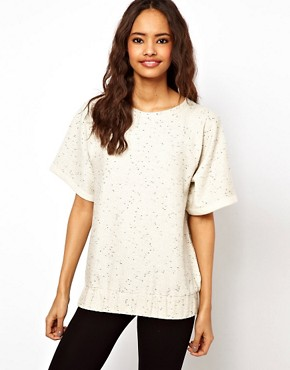 Image 1 ofASOS Sweatshirt with Elastic Hem in Neppy