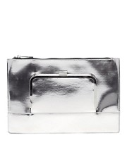 ASOS Flat Clutch Bag With Metal Front Flap