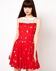 Nishe Dress with Balloon Embroidered Collar