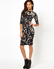 Motel Suni Midi Dress In Smoke Print