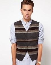 ASOS - Gilet con vestibilit slim in tessuto italiano a righe