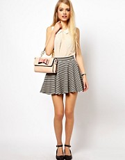 ASOS Jacquard Skater Skirt in Stripe