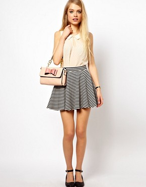 Image 1 ofASOS Jacquard Skater Skirt in Stripe
