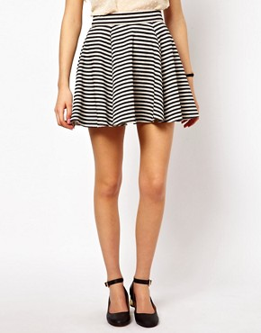 Image 4 ofASOS Jacquard Skater Skirt in Stripe