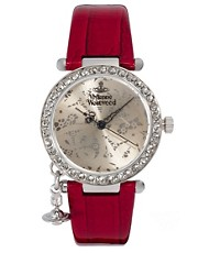Vivienne Westwood Orb Red Leather Strap Watch With Diamante Detail