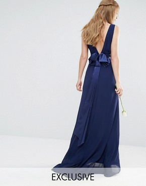 TFNC WEDDING Sateen Bow Back Maxi Dress