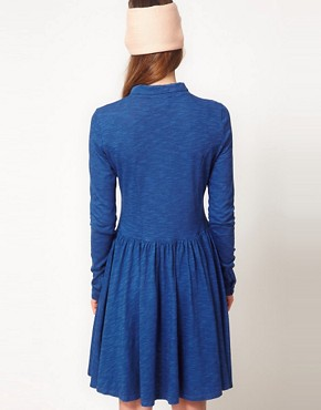 Image 2 ofGanni Long Sleeve Indigo Dress
